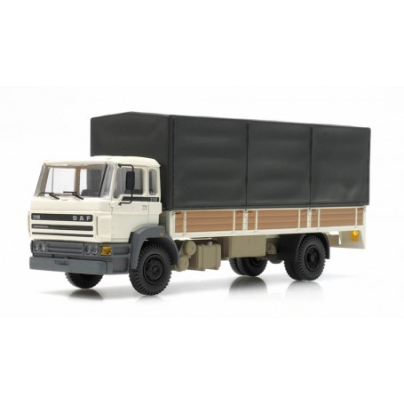 1987 DAF Tilt-Cab Open Bed Truck with Canvas White, Ready-Made (HO) Artitec 487.053.02