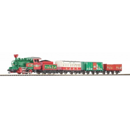 PIKO 57081 (HO) Christmas Starter Set w. Steam loco + 3 Coaches, PIKO A-Track w. Railbed