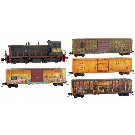 Micro-Trains 993 01 370 (N) EMD SW1500 Union Pacific 1176 (Weathered) w/ 4 Boxcars