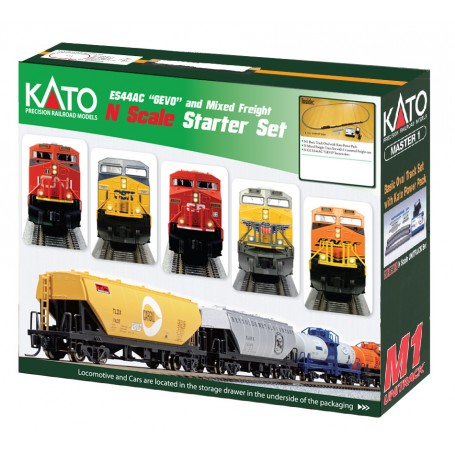 KATO 106-0022 (N) M1 Basic Oval Track Set, ES44 Canadian Pacific, Freight Cars and Power Pack, 120V