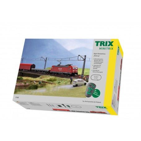 Trix 11145 (N) Electric DB Class 185.2 Freight Train Digital Starter Set with Infrared Remote, 120V