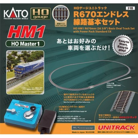 KATO 3-105 (HO) HO HM1 R670mm Basic Track Oval with Power Pack SX