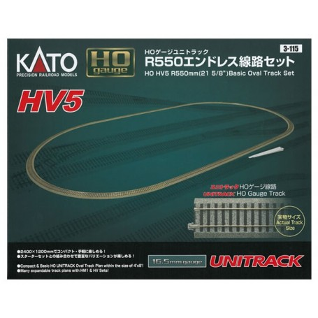 "KATO 3-115 (HO) Unitrack - HV5 R550mm (21 5/8"") Basic Oval Track Set"